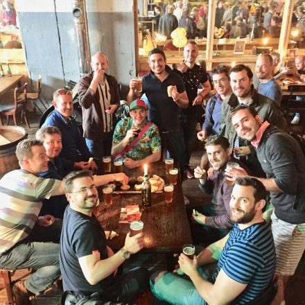 Check out this group of guys enjoying a craft beer in the Fenix Food Factory